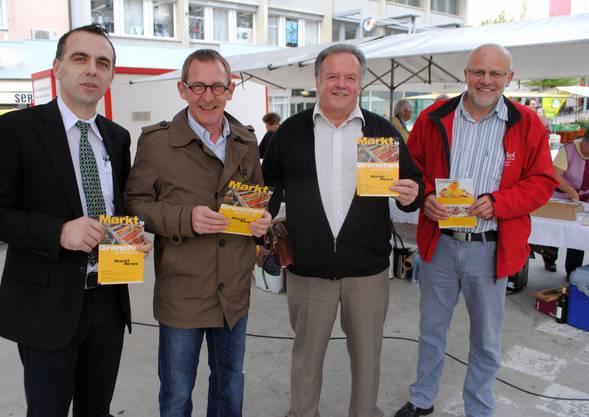 Sie freuen sich auf die erste «Kochete» am 10. Mai (links): Robert Laski vom Grenchner Hof, GVG-Präsident Heinz Westreicher, Markus Glaus (Wyhuus Glaus) und Erich Dubach, Chef Kommission Marktfahrer.