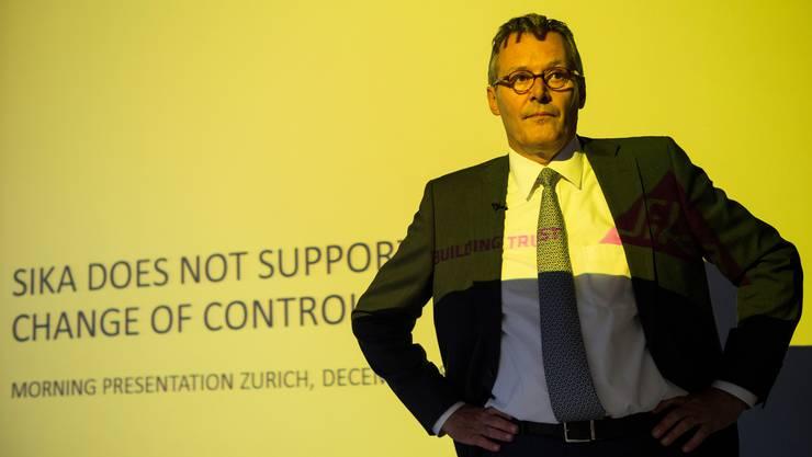 «Sika unterstützt den Eigentümer-Wechsel nicht» Paul Hälg, Präsident des Baustoffeherstellers, am 8. Dezember 2014.