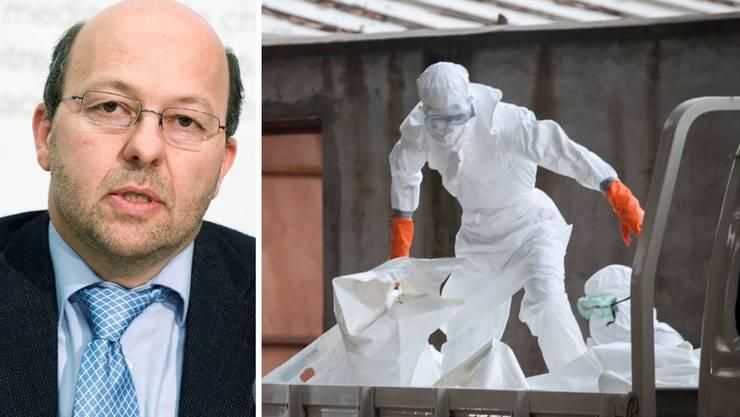 Infektiologe Prof. Dr. Pietro Vernazza (l.): «Ausbreitung kann mit einfachen Mitteln verhindert werden». Rechts: Krankenhausangestellte in Schutzanzügen transportieren Ebola-Opfer.