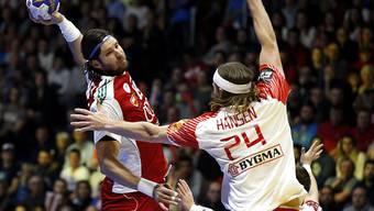 Blieb mit seinen dänischen Teamkollegen im WM-Achtelfinal an Ungarn hängen: Starspieler Mikkel Hansen (rechts)