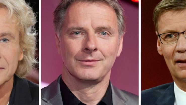 Die drei Show-Altmeister Thomas Gottschalk, Jörg Pilawa und Günther Jauch (von links nach rechts) treten am 8. September erstmals gemeinsam in einer Quizshow auf. (Archiv)