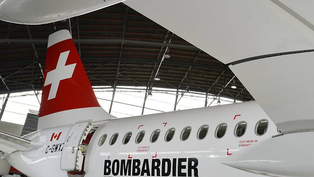 Der Bombardier CS100, das neue Flugzeug der Swiss, aufgenommen an einer Medienkonferenz auf dem Flughafen Zuerich in Kloten, am Donnerstag, 18. Juni 2015. Ab sofort sind Tickets buchbar.