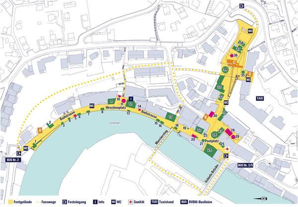 Das Festgebiet wird sich vom Parkhausdach über den Postplatz und anschliessend der Badstrasse entlang bis zum Lindenplatz erstrecken.