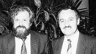 Romeo Ugolini (rechts) in den 1980ern mit dem damaligen Nati-Coach Paul Wolfisberg.