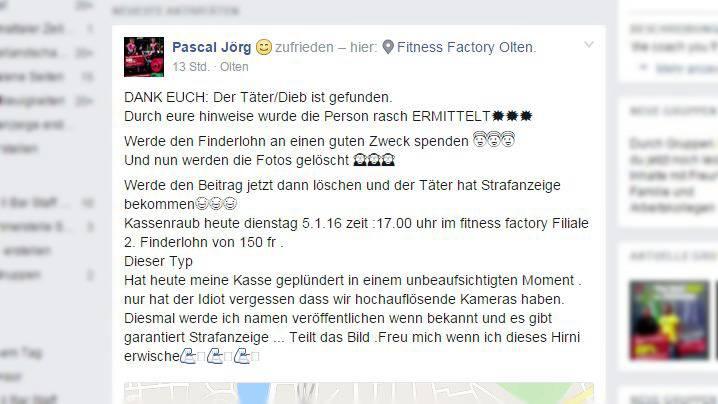 Pascal Jörgs Suche nach dem Dieb war erfolgreich, wie dieser auf Facebook bekannt gab.