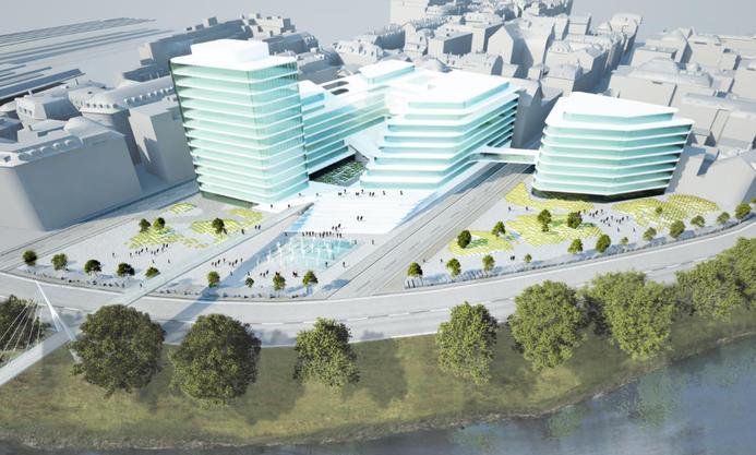 In einer zweiten Variante bietet das neue Kongresszentrum viel Freifläche.