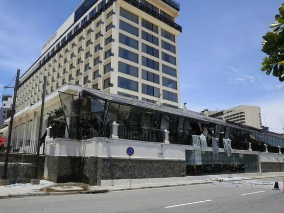 Auch das Kingsbury-Hotel war von einer Explosion am Ostersonntag betroffen und wurde stark beschädigt.