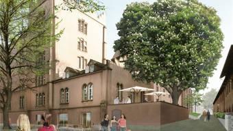 Die Regierung schlägt eine seitliche Öffnung der Kaserne vor. Hier der Blick vom Rhein.zvg/Visualisierung