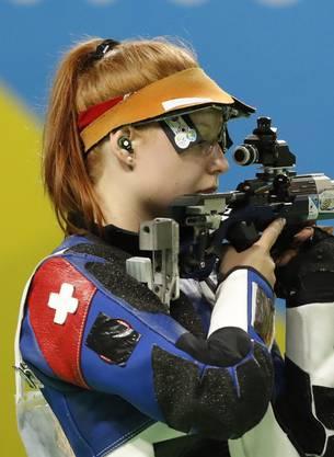 Schützin Nina Christen holt die erste Schweizer Medaille in Minsk.