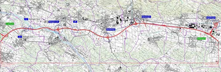 Der ganze Projektperimeter (rot) zwischen Luterbach und Härkingen. Die 1966/67 gebaute Nationalstrasse genügt den heutigen Anforderungen nicht mehr. Umkreist sind die wichtigsten Massnahmen.  Ill: zvg
