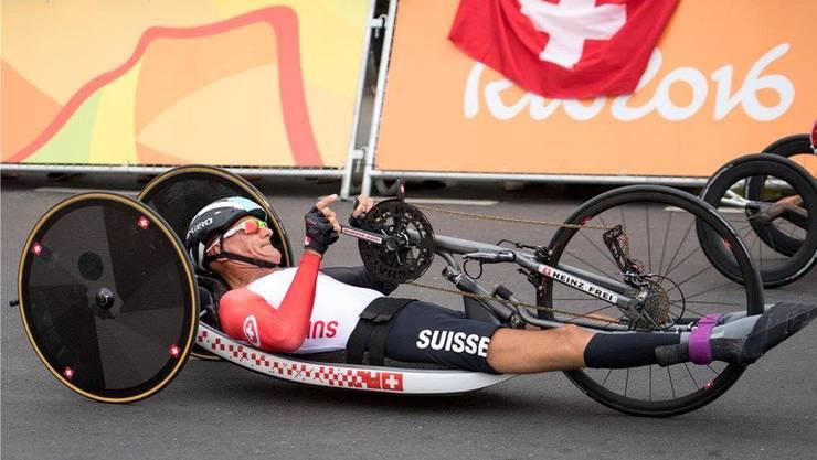 Heinz Frei (58) beim Handbike-Rennen an den Paralympics in Rio. Noch jetzt ärgert er sich über den gefährlichen Streckenverlauf.