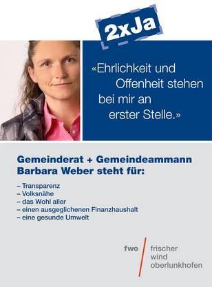 Barbara Weber als Gemeinderätin und Gemeindeammann