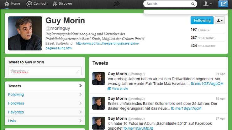 Zur politischen Linie passend: Guy Morins Twitter-Auftritt zeigt sich ganz in grün.