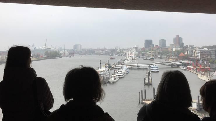 Blick durch grosses Fenster von der Elbphilharmonie auf den Hamburger Hafen