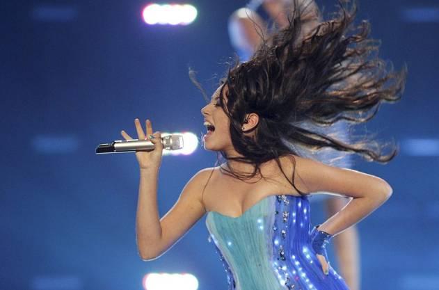 Haarige Sache: Safura aus Aserbaidschan. «Drip Drop» wird auch im Finale zu hören sein.