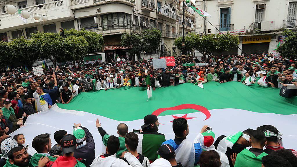 Auch am neunten Freitag in Folge demonstrieren die Algerier gegen ihre Staatsspitze. Was als Protest gegen Präsident Abdelaziz Bouteflika begann, ist inzwischen zu einer Demonstration gegen die gesamte Führungselite geworden.
