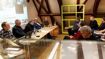 Podiumsdiskussion zu Stadtgeschichte Grenchen: v.l.: Stefan Haudenschild, Alfred Fasnacht, Andre Weyermann (Leitung), Martin Illi, Daniel Kauz.