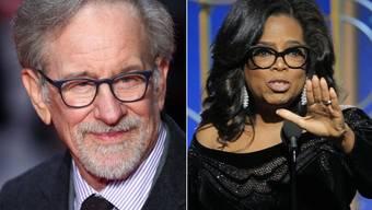 Steven Spielberg (l) würde Oprah Winfrey (r) in einem allfälligen Präsidentschaftswahlkampf unterstützen. Sie sei fachlich mindestens so qualifiziert wie der amtierende Präsident, bringe aber Empathie mit ein, findet er. (Archivbilder)
