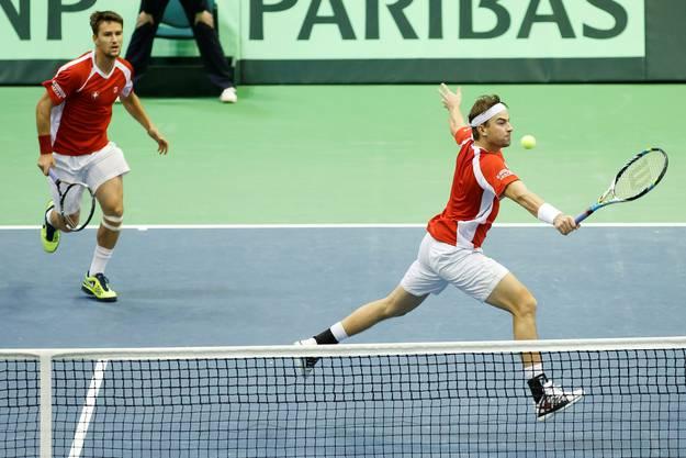 Den zweiten Satz verlieren die beiden Schweizer: Krajinovic und Zimonjic gewinnen ihn mi 6:3.