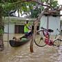 Velo in den Baum gerettet: Szene der Überschwemmung in Alappuzha, Kerala.