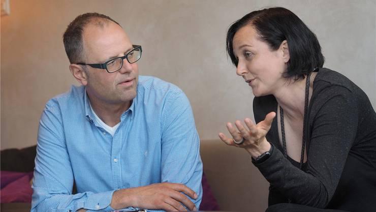 Die neue Führung des Gewerbes Olten: Andreas Jäggi (links) und Daniela Gaiotto beim Interview im Restaurant Pure vorgängig zur Generalversammlung.
