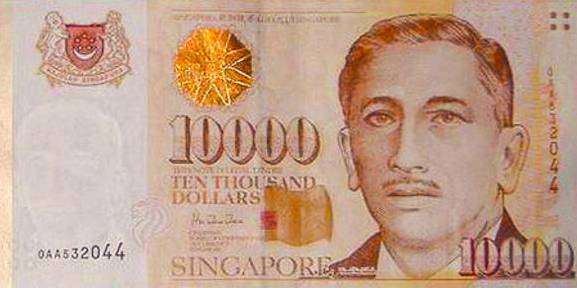 Die 10'000er-Dollar-Note von Singapur.