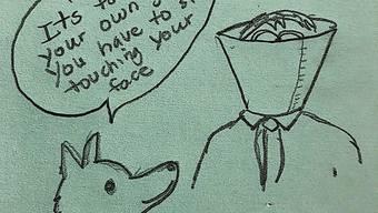Jetzt den Humor nicht verlieren: «Es ist nur zu deinem Besten. Du musst aufhören, dein Gesicht zu berühren», sagt der Hund zum Menschen.