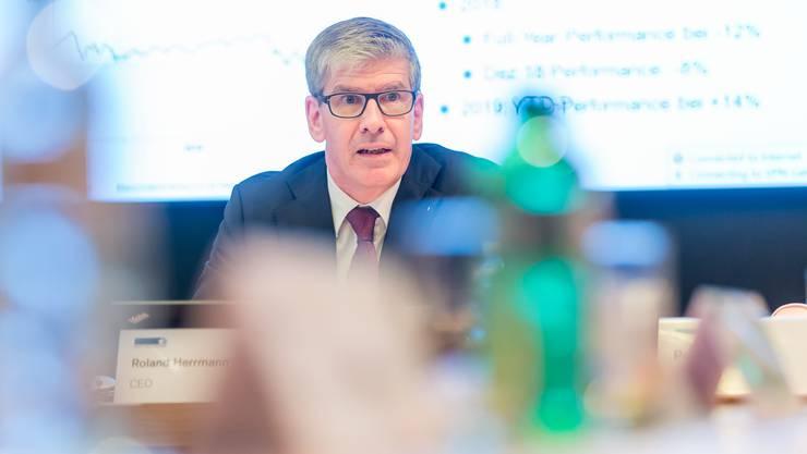 NAB-CEO Roland Herrmann an der Bilanzmedienkonferenz.