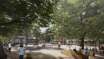 Visualisierung: der sanierte Lindenplatz soll viel Platz bieten.