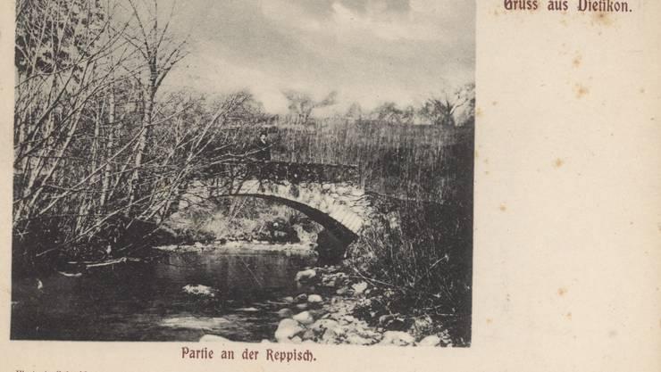 Eine Postkarte wirbt um das Jahr 1900 mit einer Reppisch-Idylle für Dietikon