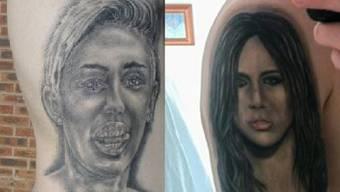 Miley einst (r) und jetzt: 2 von 22 Tattoos von Moccoid (Facebook)