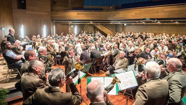 Die letztjährige Versammlung von Jagd Thurgau mit Jagdhornbläsern für die Fanfaren.