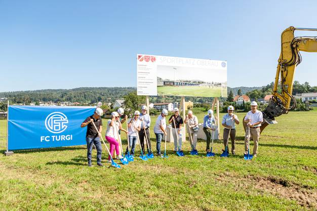Spatenstich für den neuen Fussballplatz Oberau in Untersiggenthal (FC Turgi). Fotografiert am 26. August 2019.