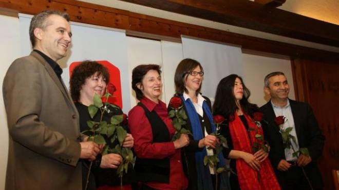 Sie schafften 2011 den Sprung auf das Ticket: Beat Jans, Regina Rahmen, Anita Fetz (Ständerätin), Silvia Schenker, Tanja Soland und Mustafa Atici (von links). Foto: Andreas Maurer