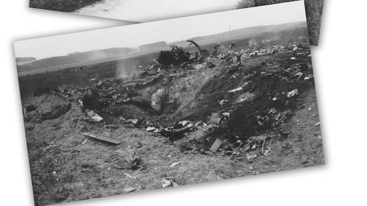 So sah das Trümmerfeld nach dem Absturz der amerikanischen Maschine in Bätterkinden aus.