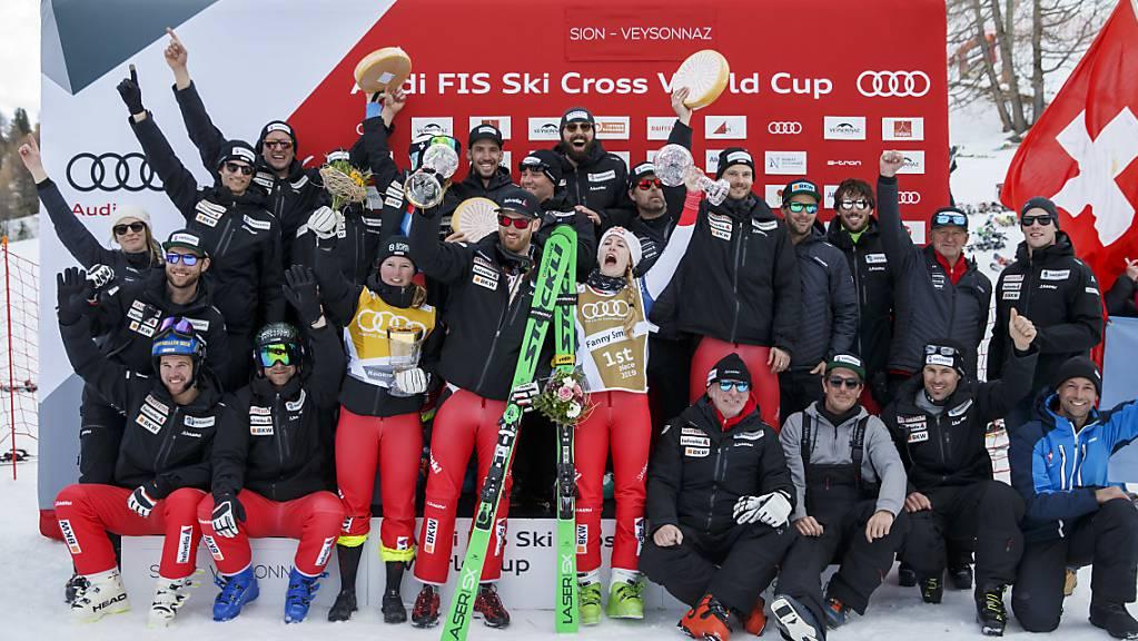 So sehen Sieger aus: Die Schweizer Skicrosser wollen an die erfolgreiche letzte Saison anknüpfen.