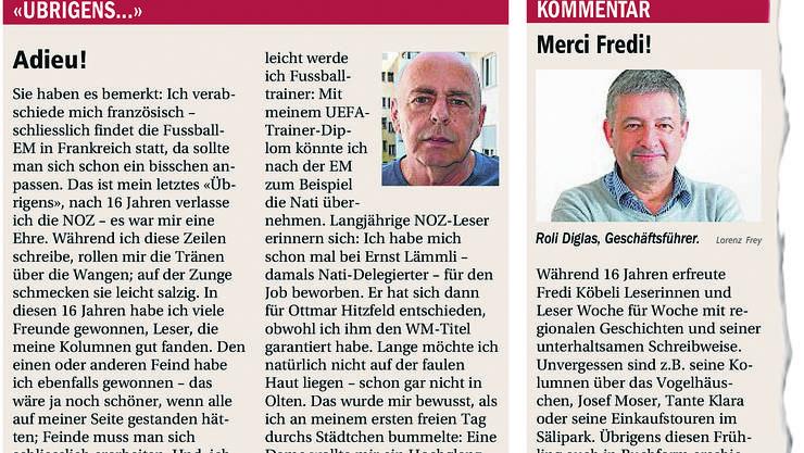 """Redaktionsleiter Fredi Köbeli verabschiedet sich in seiner Kolumne von den Lesern der """"Neue Oltner Zeitung"""". Daneben der Kommentar des Geschäftsführers Roli Diglas."""
