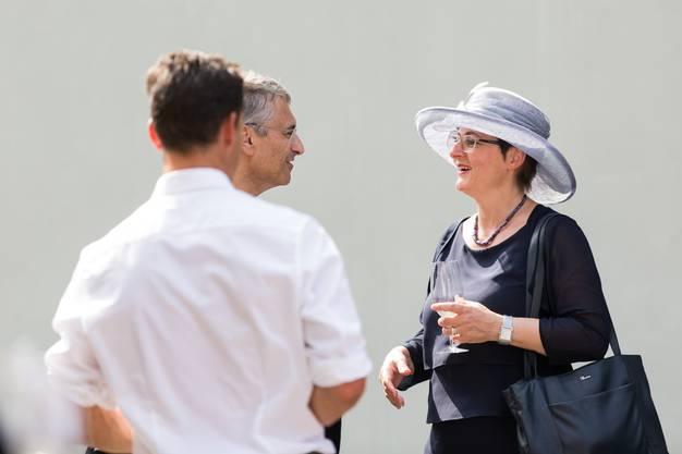 Regierungsrätin Franziska Roth am Apéro nach der Trauerfeier für Alt-Regierungsrat Roland Brogli, am 23. Juni 2017 in Zeiningen.