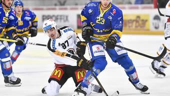Dario Bürgler (Nummer 87) entschied das Duell gegen seine ehemaligen Davoser Teamkollegen mit seinem 13. Saisontreffer zugunsten Luganos