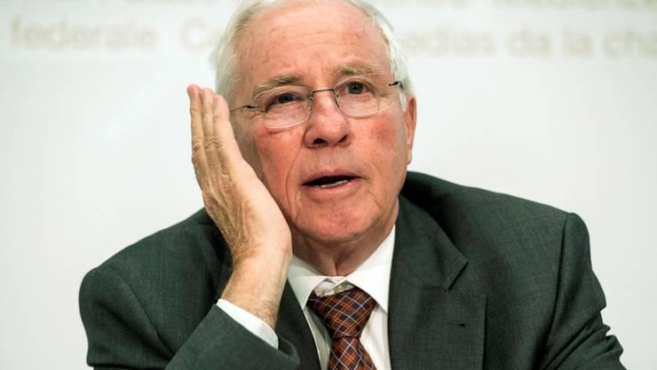 Christoph Blocher am Dienstag vor den Medien in Bern.