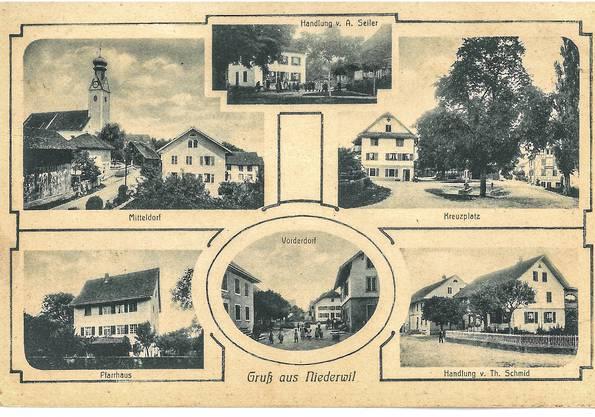 So sah es in Niederwil um 1914 aus. Die Postkarte wurde im März jenes Jahres aus dem Aargau ins Bündnerland nach St. Moritz geschickt.