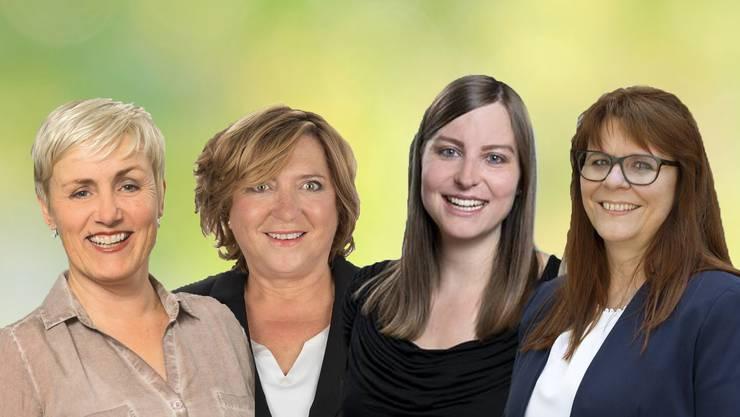 Die Zurzibieter Grossratskandidatinnen Monika Baumgartner-Schwere (CVP), Susanne Gfeller (SVP), Elena Flach (SP) und Claudia Hauser (FDP).