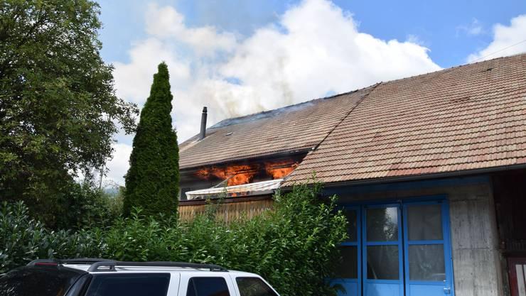 Dachstockbrand in einem ehemaligen Bauernhaus in Hägendorf (21. August 2019)