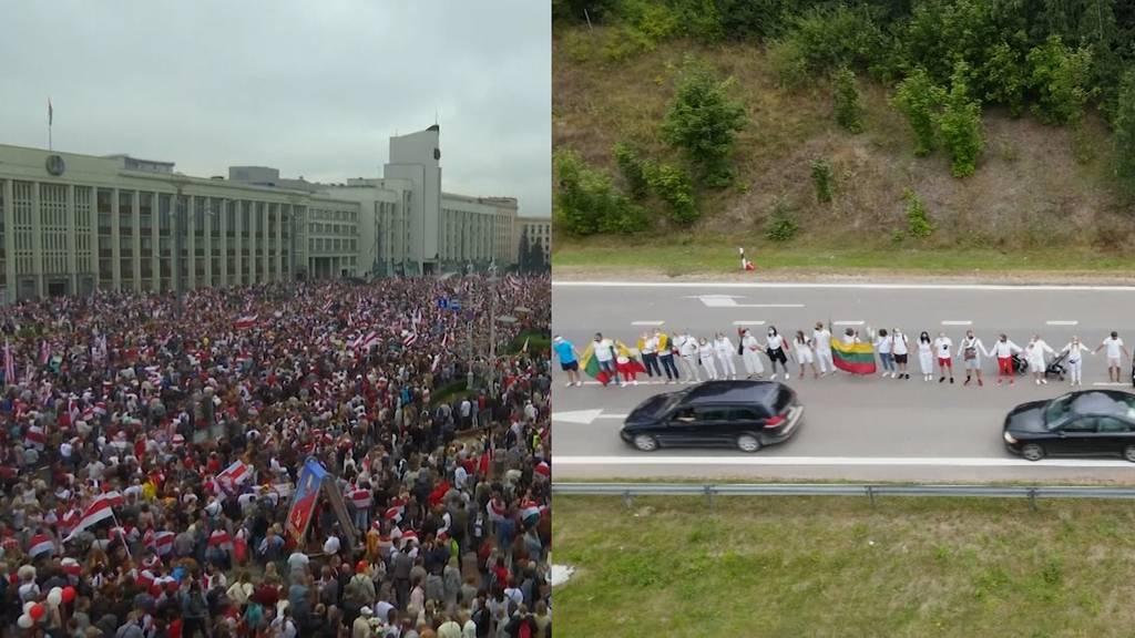 Litauen und Ukraine zeigen mit Menschenkette ihre Solidarität für Demonstranten in Minsk