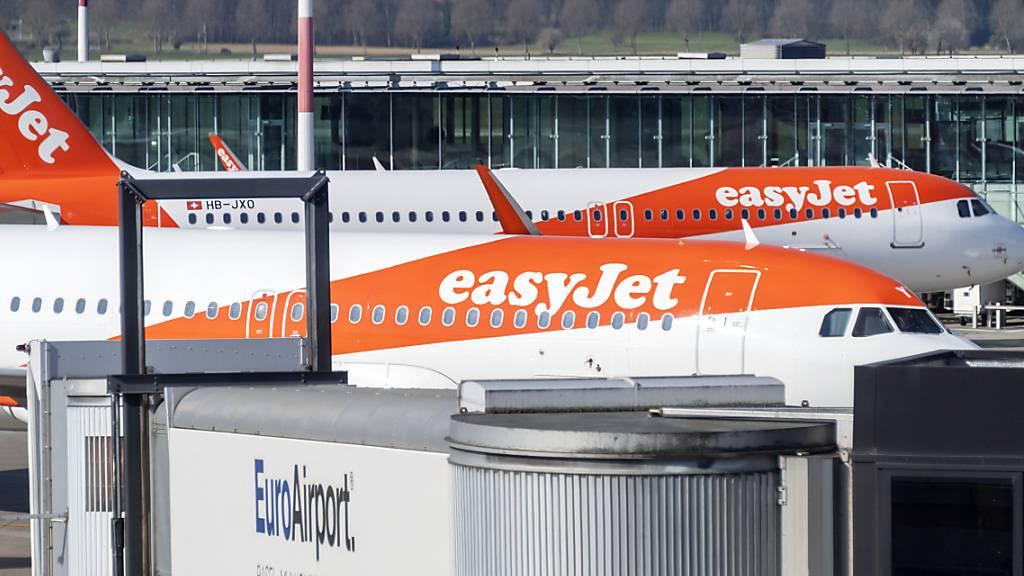 Die Flugzeuge der am Euroairport Basel-Mülhausen mit Abstand stärksten Gesellschaft Easyjet blieben im Frühling 2020 am Boden.