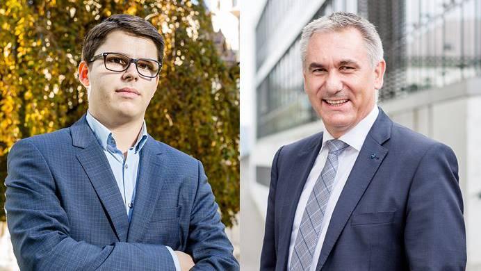 Kantonsschüler Aurel Gautschi wird von Bildungsdirektor Alex Hürzeler zurückgepfiffen.