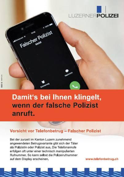 Die Luzerner Polizei warnt vor falschen Polizisten
