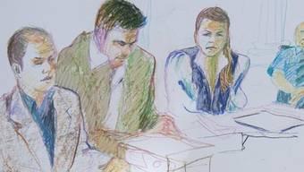 Die Angeklagten der Schenkkreis-Morde vor Gericht