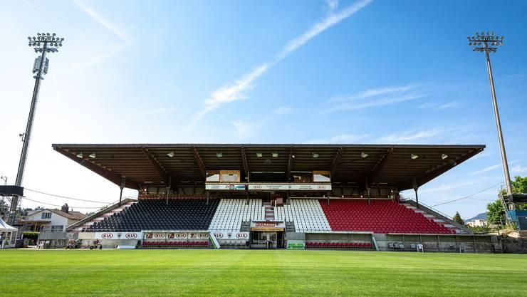Das Stadion Brügglifeld hat einen neue Bestuhlung auf der Sitzplatz-Tribüne. Aufgenommen am 25. Juli 2019 in Aarau.