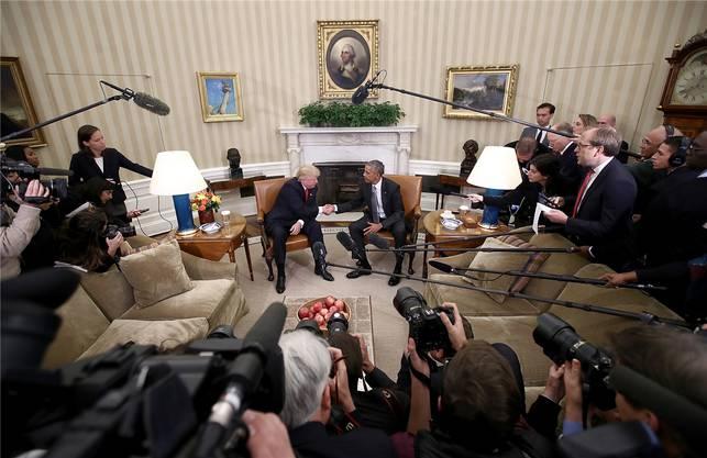 November 2016: Das erste persönliche Gespräch zwischen Donald Trump und Barack Obama im Oval Office dauerte viel länger als geplant.
